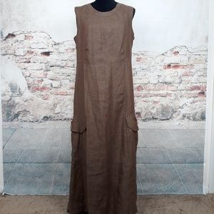 Lisa Marlen 12 (GB 16) Brown Linen Flax Maxi Dress